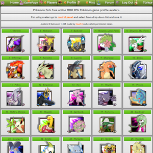 Pokémon Game Avatars Page - You Can Use These Avatars At Your Profile