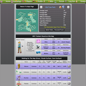 Game Map Details Page NPC Trainers and Wild Pokémon
